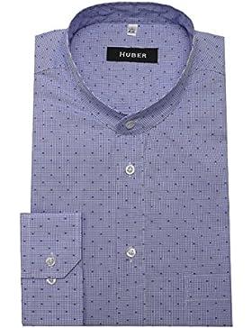 Stehkragen Hemd Karo blau weiß HUBER 0088 bequeme Passform Größe S bis 5XL