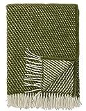 Klippan: Creme-grüne Wolldecke 'Velvet' 130x200cm aus Lambswool, Wollplaid Schurwolle, Sofadecke, Kuscheldecke
