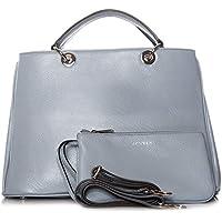 Slate Pastel Blue Water blu ardesia chiaro & Silver MUSE 40 Tote Bag Pieno signore Donna borsa in pelle borsa borsa a tracolla della frizione di lusso purista moderno chic (40x26x19cm)