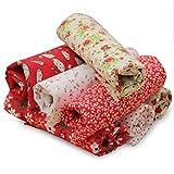 KING DO WAY 7 X Baumwolltuch Stoffpakete Patchwork Stoffe Baumwolle Stoffreste Paket Reste Rot Blume 50cm