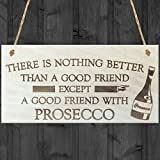 Red Ocean There Is Nothing Better Than A Good Friend Except A Good Friend With Prosecco Novelty Wooden Hanging Plaque Gift Alcohol Joke Sign