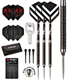 DOUBLE AGENT 90% TUNGSTEN STEEL / SOFT TIP DARTPFEILE - 20 Gram - Chevron Hardcore Flights, Black Shafts, Case & Red Dragon Checkout Card