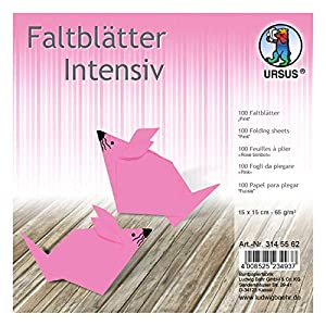 Ursus 3145562 - Hojas Plegables (100 Unidades, 65 g/m², 15 x 15 cm, para Artistas de Origami, teñidas), Color Rosa