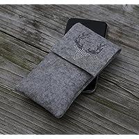 zigbaxx Handyhülle - u.a. für iPhone 8/7/6, iPhone 8/7/6 plus / Smartphone-Hülle Wood Star aus Woll-Filz mit Hirsch - pink / anthrazit-schwarz / beige / grau - Geschenk Weihnachten Geburtstag Valentinstag