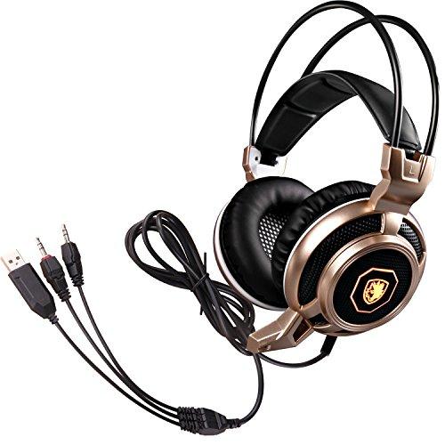 BZ SADES-Cuffie da gioco con cavo per PC Gamer Jack da 3,5 mm, audio Surround a LED che cambia colore, leggera e comoda, con microfono ad alta sensibilità e controllo del Volume
