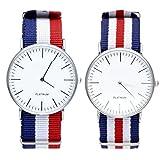 JSDDE Uhren,Genf Herren Damen Partner-Armbanduhr Nylon Textil Band Durchzugsband Analog Quarzuhr Paaruhren (x2)