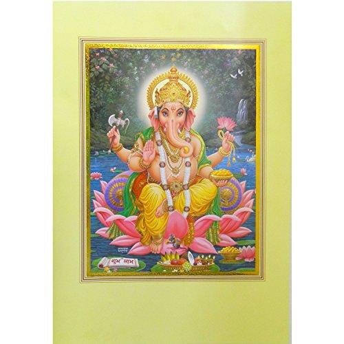 Bild Ganesha 49,5x34cm Gold Gottheit Hinduismus Kunstdruck Plakat Poster Religion Spiritualität Dekoration