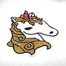 Gran parche termoadhesivos unicornio de lentejuelas para cazadoras niñas, camisetas, mochilas,vestidos, costura, toalla piscina, colchas.. de 25 x 19 cm. de OPEN BUY