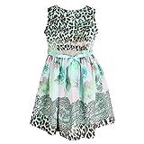 Cutecumber Girls Georgette Floral Printed Green Dress -(CC742D-GREEN-22)