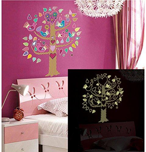 Dekorative Fluoreszierende Leuchten (Blume Vogel Baum Leuchten Fluoreszierende Wandaufkleber Kinderzimmer Haus Dekorative Wandaufkleber 60 X 90cm)