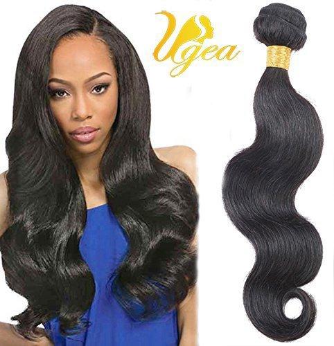 Ugea Tressen Echthaar Gewellt Virgin Haare Weft 100% Unprocessed Brasilianisch Weaving Extensions 22 Inches /55cm 1b# Naturliche Schwarz