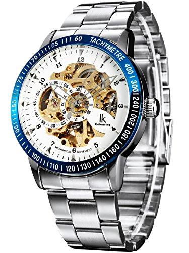 Alienwork IK mechanische Automatik Armbanduhr Skelett Automatikuhr Uhr weiss silber Edelstahl 98226-15