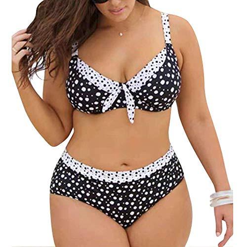 Dehots Sexy Damen Bikini Große Größen Polka Punkt Set Bademode Badeanzüge Bikinis für Frauen Mädchen Bandeau Push Up, Schwarz, EU 48 (Label 3XL) (Bikinis Große Für Frauen)