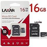 laxar Ultra 16GB MICRO SD TF Carte Mémoire Classe 10 AVEC MICRO SD pour Adaptateur SD HAUTE PERFORMANCE Carte SD - Full HD & 4K PHOTOS & vidéo stockage
