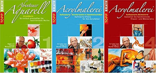 Topp Kreativ Paket Malen ACRYLMALEREI & AQUARELLMALEREI Grundkurs Aufbaukurs 3 DVD Edition