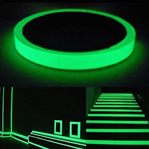 sphor Klebeband,9.8FT X 0.3IN Leuchtende Sicherheits Sicherheits Sicherheitsmarkierungen für Treppenstufen/Wände/Stufen/Ausgangsschild/Glühender ProTheaterbühnenboden ()