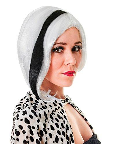 Bristol Novelty bw799Glamour Diva weiß mit schwarz Streifen (Kostüm Ideen Schwarze Bob Perücke)