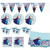 Nuovissimo Frozen set festa e party (24 piatti, 24 bicchieri, 40 tovaglioli, 1 tovaglia, festone)