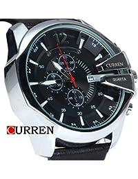 Reloj de cuarzo con cronógrafo para hombre vestidos Curren correa de piel de colour negro y plateado