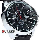 CURREN orologio da polso da uomo al quarzo con Display con cronografo e cinturino in pelle stravagante Argento/Nero