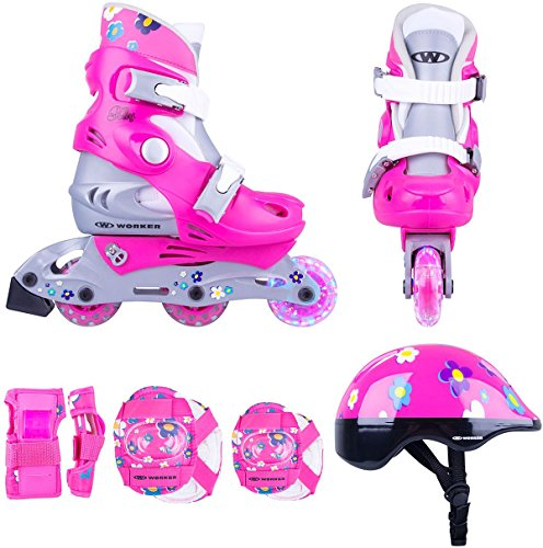 Kinder Inline Skates Set Polly LED Gr. 26-29, 30-33 verstellbar + Schutzset + Helm