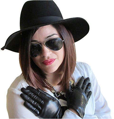Fownes Cashmere Damen Handschuhe, gefüttert, Metisse Lammleder - Schwarz - 7 Medium Fownes Womens Cashmere