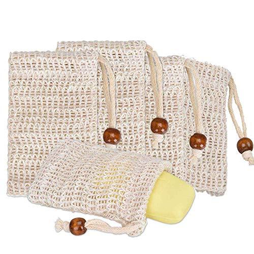 Phogary Sisal Seifensäckchen Bio (5er Pack) Natur Seifenbeutel Bio für Körper-Peeling, Massage, Natürliche Faser-Seifen-Taschen für Das Schäumen und Das Trocknen der Seife