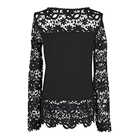 Elite99 Womens Casual Long Sleeve Embroidery Lace T Shirt Tops Blouse (Black,18)