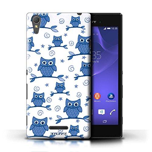Kobalt® Imprimé Etui / Coque pour Sony Xperia T3 / Rose/blanc conception / Série Motif Hibou Bleu/Blanc