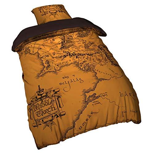 Elbenwald Herr der Ringe Bettwäsche Mittelerde Karte 2tlg 135x200 80x80cm