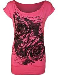 WearAll - Damen Glitter Graffiti Rose Blumen Kappenhülse Lang T-Shirt Top - 7 Farben - Größe 36-42