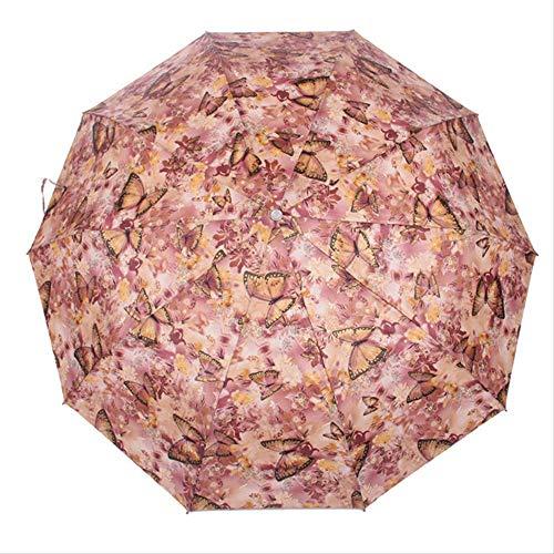 LZBDKM Regenschirm Frauen Regen Männer Hohe Qualität Winddicht Ultraleicht Taschenschirm Sonnenöl Regen Malerei Automatische Regenschirm SonnenschirmSchmetterlinge