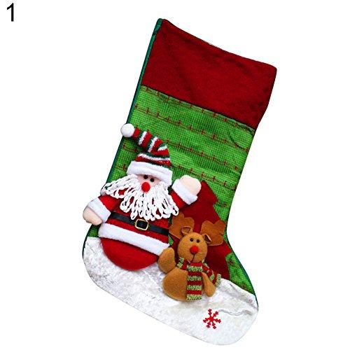 Bodhi2000, calze di natale classiche da appendere all'albero di natale, decorazioni per la casa e forniture per feste, giocattoli, caramelle, sacchetti regalo per bambini santa claus