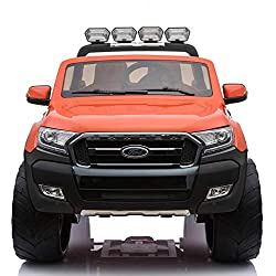 Cristom 4x4 électrique 24Volts 10Ah Ford Ranger WILDTRAK, télécommande 2.4ghz , Pneu reelle , 2 Places ,Prise USB/Radio FM/MP3 , clé reelle , Licence Ford (Orange)