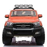 Cristom 4x4 électrique 24Volts 10Ah Ford Ranger WILDTRAK, télécommande 2.4ghz , Pneu reelle , 2 Places ,Prise USB/Radio FM/MP3 , clé reelle , Licence Ford (Orange)