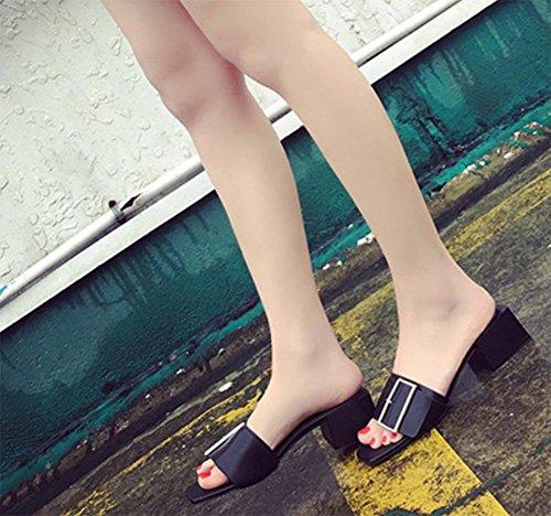De Um Abertas Verão Espessura E Fivela Preta Com Chinelos Mulheres Sandálias Praça nn1B5x8f
