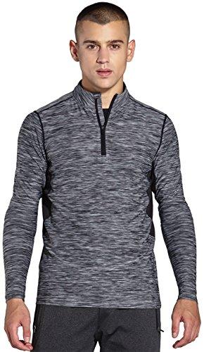 KomPrexx Longsleeve Herren Sport 1/4 Zip T-Shirt Langarm Trainingsshirt Funktionsshirt Langarmshirt Running Sweatshirt Pullover Laufshirt MC03T(Gray,L)