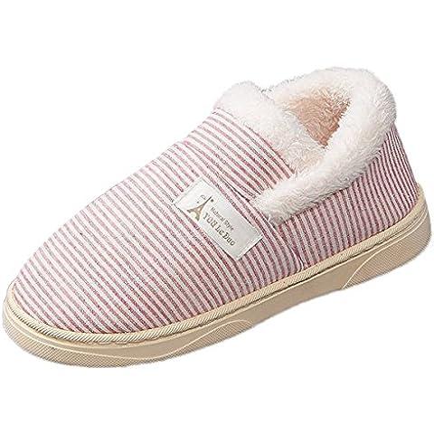 Minetom Mujer Hombre Invierno Interior Zapatillas De Estar Por Casa Pareja Refrescante Rayas Algodón Zapatos