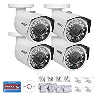ANNKE 1080P HD Network Night Vision In/Outdoor POE Security IP Camera IP67 Waterproof Rating, 3D Digital Noise Reduction,Pack of 4