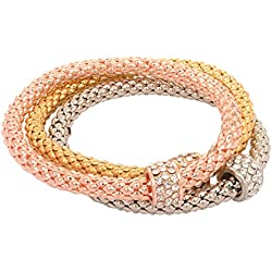 Access-o-risingg Rose Gold, Silver and Gold Plated Set of 3 Stretchable Plain Charm Bracelet for Women/Girls [BR133]