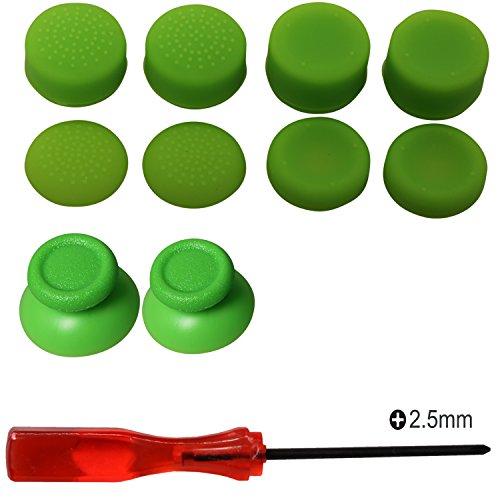 Kit de reparación de joystick analógico de reemplazo eJiasu, destornillador Phillips de 2,5 mm con altura de palanca de mando y palanca de mando para PS4 DualShock 4 Handle Controller (2PCS grüne Joystick Thumbsticks + 4 Paare grüne Joystick Kappen + 1PC Phillips Schraubenzieher)