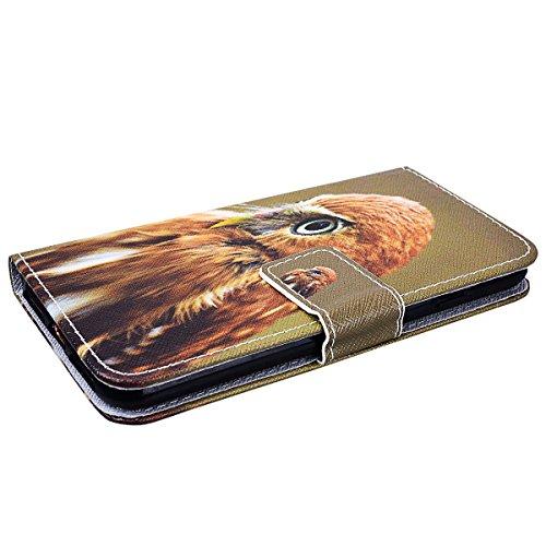 SMART LEGEND Lederhülle für iPhone 7 Plus Ledertasche Hülle Schwarz Farbe Muster Schutzhülle Premium PU Leder mit Handschlaufe Flip Case Protective Cover Innere Weiche Silikon Bookcase Handy Tasche Sc Young eagle