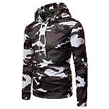 MRULIC Männer Kapuzenpullover Sweatshirt Herbst Casual Camouflage Langarm Pullover Hoodie Mantel Top RH-065(Weiß,EU-44/CN-M)