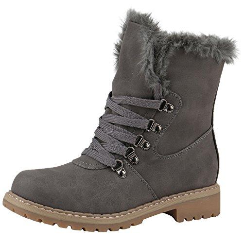napoli-fashion Warm Gefütterte Damen Stiefeletten Outdoor Boots Kunstfell Stiefel Jennika Grau Hellbraun