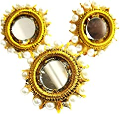 Handmade Jewellery for Girls | Golden lace | Pearl | Mirror Work ring | For Causal | Party Wear | Sraajan