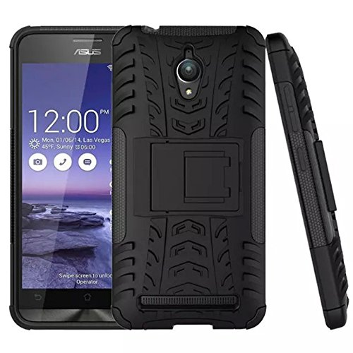 TARKAN Hard Armor Hybrid Bumper Flip Stand Rugged Back Case Cover For Asus Zenfone Go 5.0 inch ZC500TG [Black]  available at amazon for Rs.199