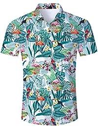 NEWISTAR Funky Chemise Hawaïenne et Short de Bain 3D Imprimé à Manches Courtes Fleur Shirt Maillot de Bains Homme Été