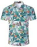 NEWISTAR Uomo Camicie hawaiane Aloha Pulsante Maniche Corte 3D Stampa Camicie Shirt