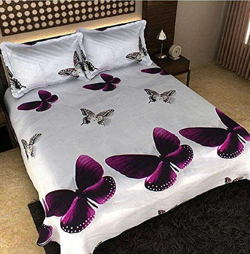 Global Textile Overseas Luxury 3D Printed Double Bedsheets with Pillow Cover in King Size (White)