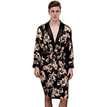 Waymoda Men's Luxury Silky Satin Evening Dressing Gown, Male Classic Dragon Fern Leaf Pattern Kimono Wrap Robe, Black Colors, 3 Sizes Optional - Long style